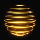 Efeito de seguimento claro do círculo do ouro, ilustração mágica de incandescência do vetor da esfera 3d Fotografia de Stock