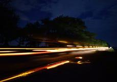 Efeito do atraso Estrada que conduziu o carro fotografia de stock
