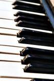 Efeito do borrão da perspectiva do close-up dos botões do piano Imagem de Stock
