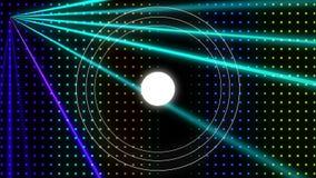 Efeito estroboscópico Dot Pattern Wall colorido com lasers e laço dos círculos ilustração stock