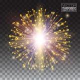 Efeito festivo das partículas do brilho do ouro Efervescência brilhante da forma ilustração do vetor