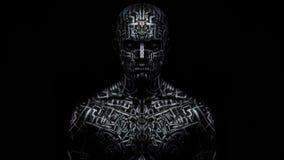 Efeito fresco no homem com arte corporal, luz de piscamento, 4k filme