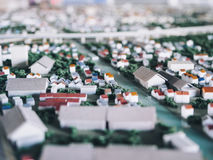Efeito modelo do borrão do deslocamento da inclinação do planeamento da rua da cidade da cidade da arquitetura fotos de stock