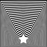 Efeito preto da arte visual da ilusão ótica das listras da estrela Foto de Stock