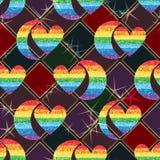 Efeito sem emenda do teste padrão dos pares da simetria do brilho do arco-íris do amor da meia lua ilustração do vetor