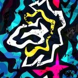 Efeito sem emenda geométrico do grunge do teste padrão dos grafittis brilhantes Foto de Stock Royalty Free