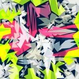 Efeito sem emenda geométrico do grunge do teste padrão dos grafittis brilhantes Imagens de Stock Royalty Free