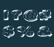Efeito transparente líquido estilizado dos símbolos Imagem de Stock
