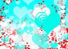 Efeitos azuis do borrão do fundo da textura dos corações vermelhos Fotografia de Stock