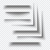 Efeitos de sombra de papel realísticos transparentes Fotos de Stock