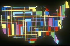 Efeitos especiais: Esboço do continente do Estados Unidos com formas geométricas Foto de Stock