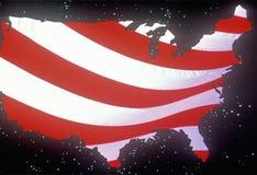 Efeitos especiais: Esboço do continente do Estados Unidos como uma bandeira americana Imagens de Stock