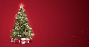 A efervescência ilumina a árvore do xmas e o Feliz Natal que cumprimenta a mensagem em inglês no fundo vermelho, neve lasca-se Es ilustração do vetor