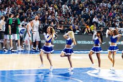 Efes Cheerleaders. Efes Pilsen Cheerleaders perform routines at THY Euroleage Top 16 Championship basketball game Efes Pilsen vs Montepaschi Siena January 20 Royalty Free Stock Photo