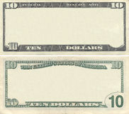 Effacez la configuration de billet de banque des 10 dollars Photos stock