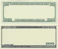 Effacez la configuration de billet de banque des 100 dollars Image libre de droits