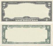 Effacez la configuration de billet de banque des 2 dollars Photos stock