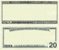 Effacez la configuration de billet de banque des 20 dollars Images stock