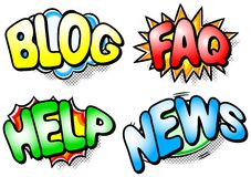 Effect bubbles blog faq help news. Vector illustration of four colorful effect bubbles with blog, faq, help and news on it vector illustration