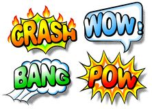 Effect bubbles with chrash, wow, bang and pow Royalty Free Stock Photos