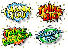 Effect bubbles. Vector illustration of four colorful effect bubbles with thank you, think big, take action and follow me vector illustration