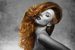 Effect BW girl with fashion bushy hair-style Royalty Free Stock Image