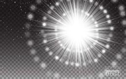 Effect de Witte abstracte illustratie van de Stralen Lichte Gloed De realistische Ontwerpelementen isoleerden Transparante Achter Royalty-vrije Stock Foto's