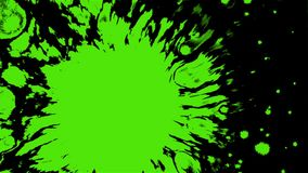 Effect with a drop of bright green paint on the water surface. HD royalty free illustration