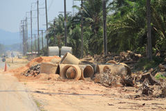 Effect  of  environment  from  road construction. Deforest for road construction have environmental impact Stock Photo