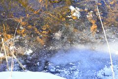 The effect of expansion during freezing can be dramatic, and ice expansion is a basic cause of freeze-thaw weathering of rock. A stream is a body of water with Royalty Free Stock Photo