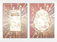 Vector. Background of rose gold. Wedding card. Detailed texture of marble. Grainy surface. Golden border. royalty free illustration