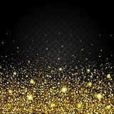 Effect of flying from the bottom of the gold luster luxury design rich background. Dark background. Stardust spark the explosion o Stock Photos