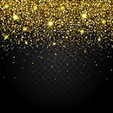 Effect of flying parts gold glitter luxury rich design background. Dark background effect. Stardust spark the explosion on a transparent background. Luxury Royalty Free Stock Photo