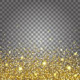 Effect of flying parts gold glitter luxury rich design background. Light gray background bottom. Stardust spark the Stock Photo