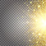 Effect of flying parts gold glitter luxury rich design background. Light gray background from the side. Stardust spark Royalty Free Stock Images