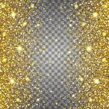 Effect of flying parts gold glitter luxury rich design background. Light gray background. Stardust spark the explosion Royalty Free Stock Images
