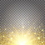 The effect of flying parts gold glitter luxury rich design background. Royalty Free Stock Photo