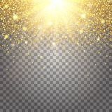 Effect of flying parts gold glitter luxury rich design background. Royalty Free Stock Photo