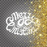 Effect of flying parts gold glitter luxury rich design background. The text on a transparent background. Stardust spark the explos Stock Image