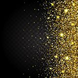 Effect of flying from the side of the gold luster luxury design rich background. Dark background. Stardust spark the Stock Photos