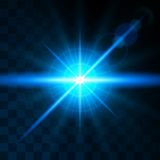 Effect glow bright blue lens. Realistic light effects. Shining sun, glare, light rays. Vector illustration.  Stock Photography