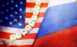 Effect met krassen op vlag van de foto de Russische en V.S. Royalty-vrije Stock Foto's
