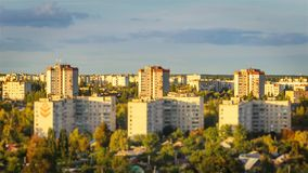 Effect miniature of cityscape with changing focus on the buildins. Tilt-shift/time lapse in Chernihiv, Ukraine. Tilt-shift of cityscape with changing focus on stock video footage