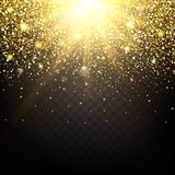 Effect of particles flying on top of the gold luster dust sparks luxury design rich background. The effect of sunlight  Stock Images