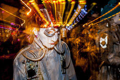 Effect Shot of Dia De Los Muertos Procession Street Performer Royalty Free Stock Photography