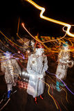Effect Shot of Dia De Los Muertos Procession Street Performers Stock Photos