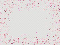 Effect Valentines confetti easy to use. EPS 10. Multicolor paper hearts. Effect confetti easy to use. Valentines petals top view. Isolated on transparent vector illustration