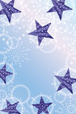 Effect van de de bellen verticale kaart van de ster het zijstraal purpere royalty-vrije illustratie