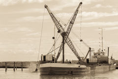 Effect vintage .Dredger ship navy Royalty Free Stock Images