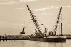 Effect vintage. Small dredge marine Royalty Free Stock Photo